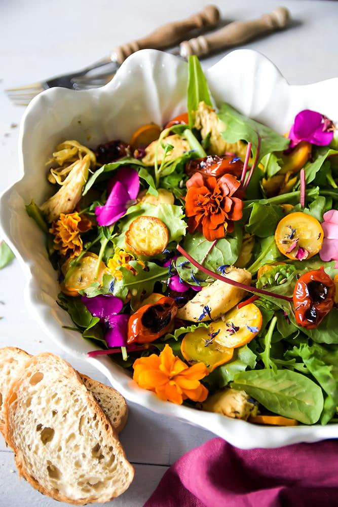 Hähnchen Salat mit Grillgemüse