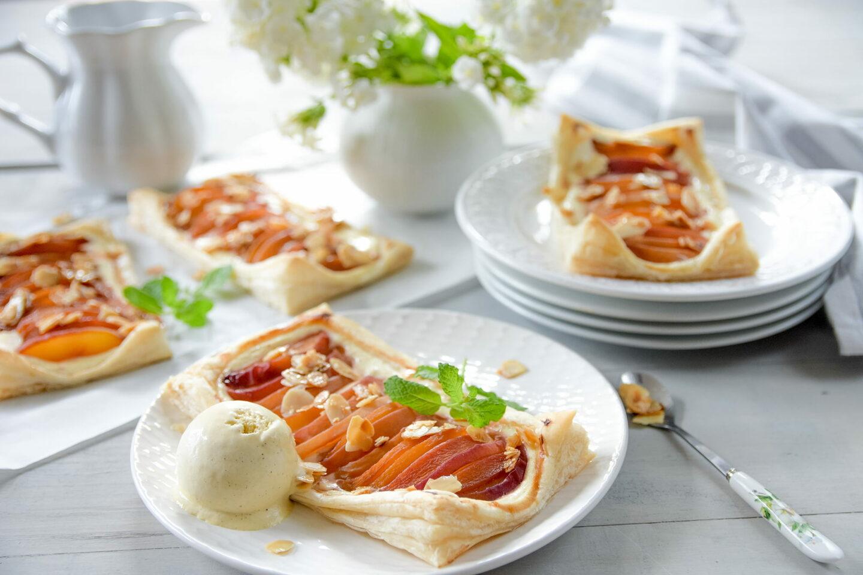 Käsekuchen-Pfirsich-Plunder