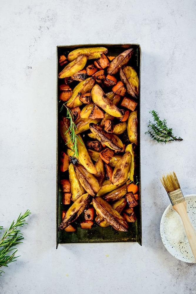 Knusprige Kartoffelecken und Kürbis