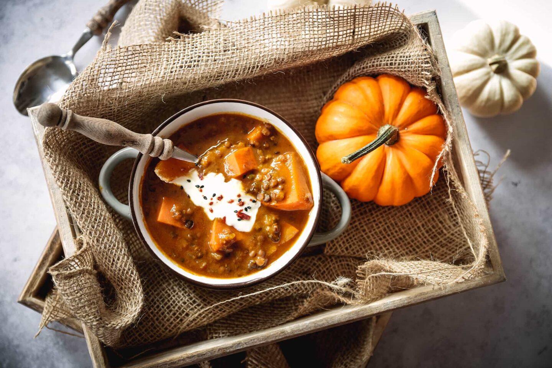 Kürbis-Süßkartoffel-Linsen-Curry