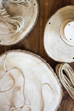 Holzscheiben-Blumenampel