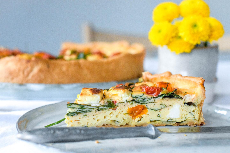 Eier-Quiche mit Spinat und Feta