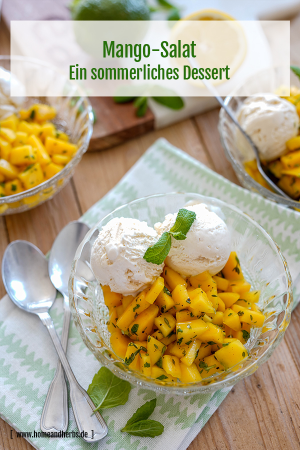 Mangorelish mit Vanilleeis