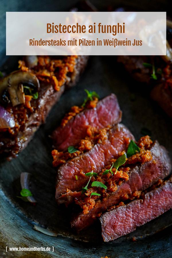 Bistecche ai funghi - Rindersteaks mit Pilzen in Weißwein Jus
