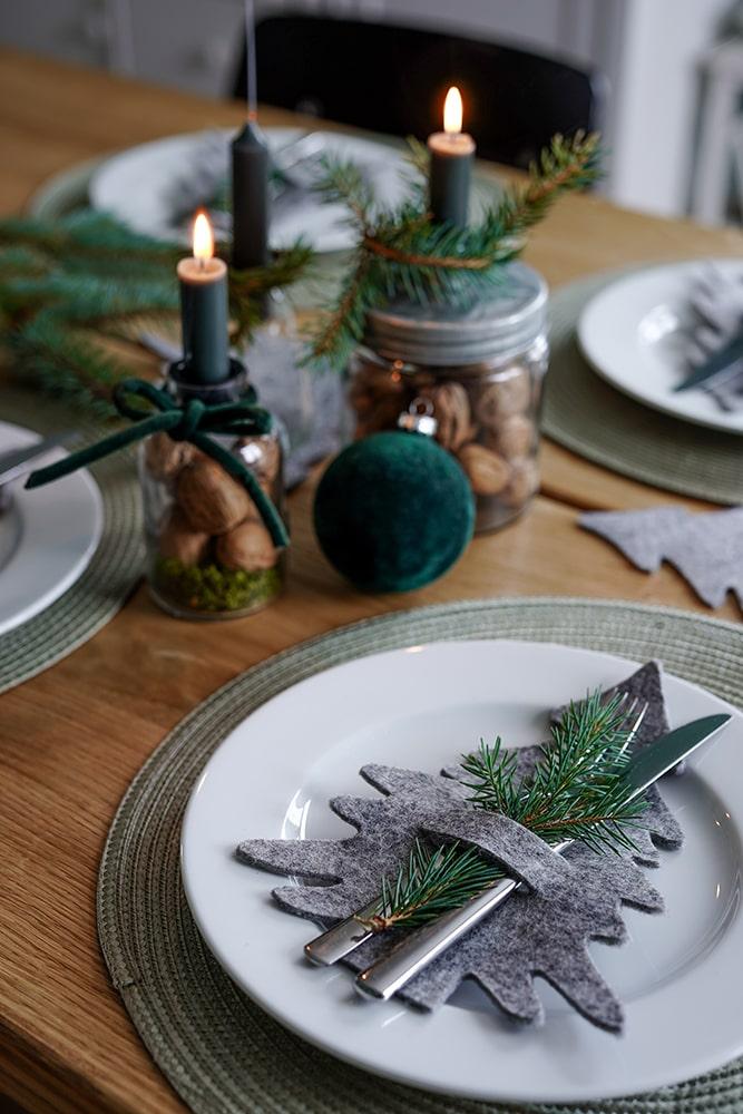 Tischdeko Weihnachten grün