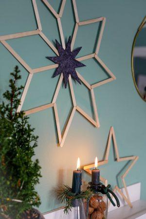 Weihnachtssterne basteln - aus Eisstiele