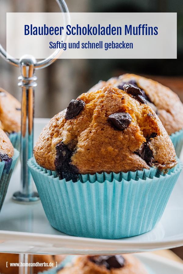 Amerikanische Blaubeer Schokoladen Muffins