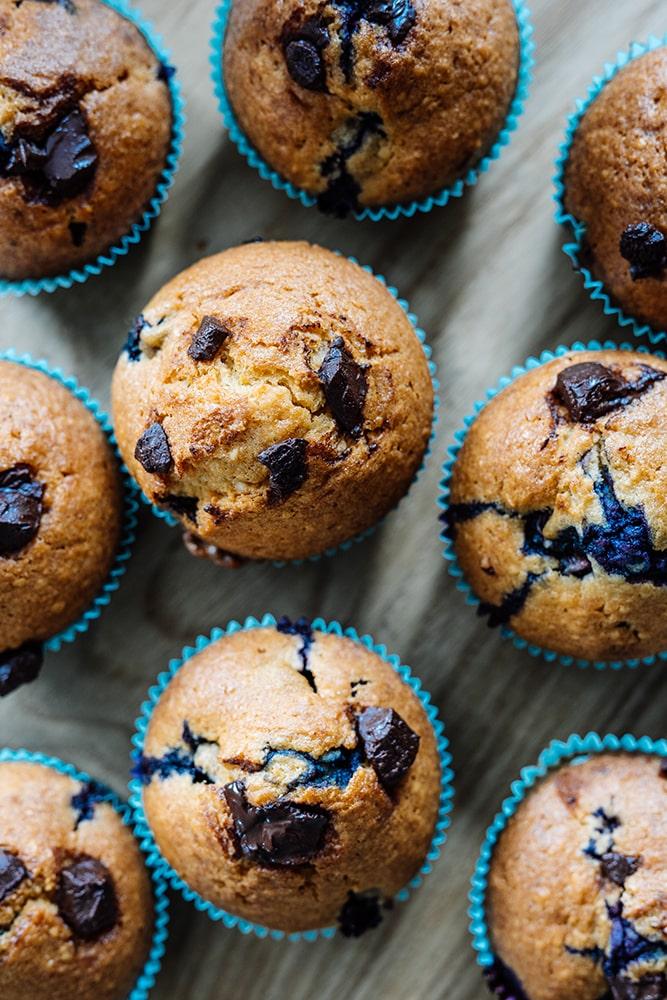 Amerikanische Blaubeer Schoko Muffins
